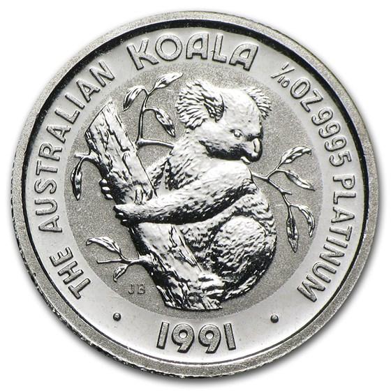 1991 Australia 1/10 oz Platinum Koala BU