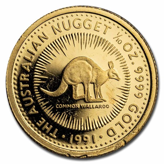 1991 Australia 1/10 oz Proof Gold Nugget