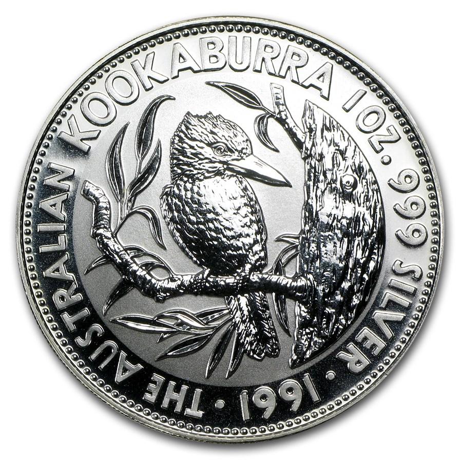 1991 Australia 1 oz Silver Kookaburra BU