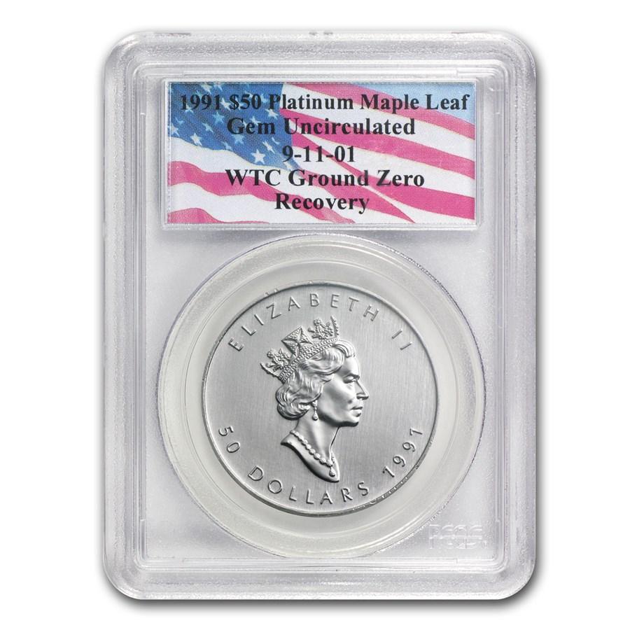1991 Canada 1 oz Platinum Maple Leaf Gem Unc PCGS (WTC)