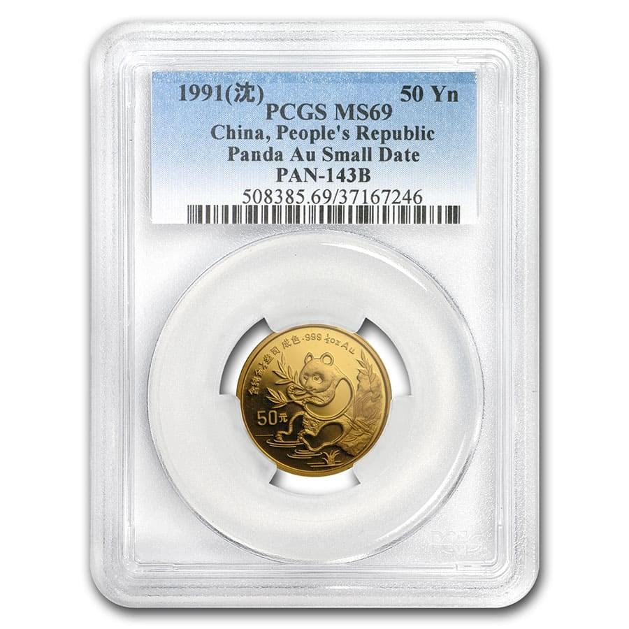 1991 China 1/2 oz Gold Panda MS-69 PCGS (Small Date)
