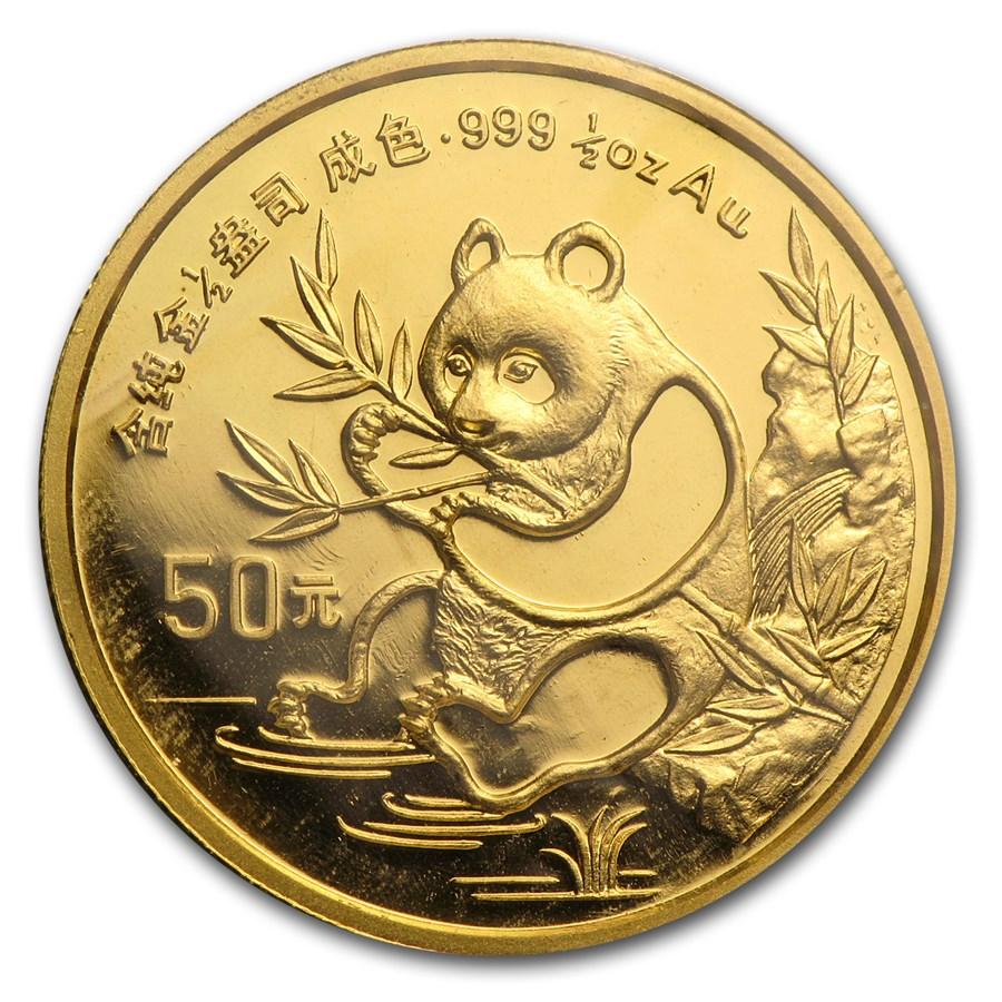 1991 China 1/2 oz Gold Panda Small Date BU (Sealed)