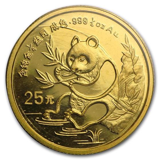 1991 China 1/4 oz Gold Panda Small Date BU (Sealed)
