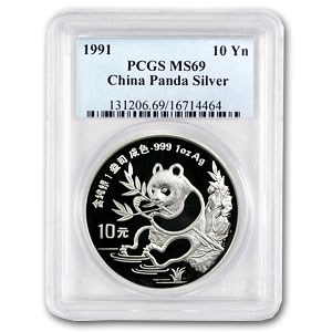 1991 China 1 oz Silver Panda MS-69 PCGS (Small Date)
