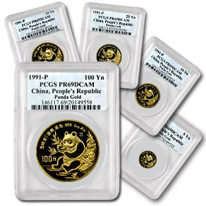1991 China 5-Coin Gold Panda Proof Set PR-69 PCGS