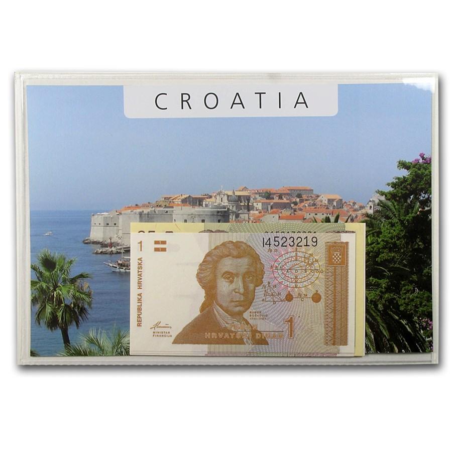 1991 Croatia 1-100 Dinara Banknote Set Unc