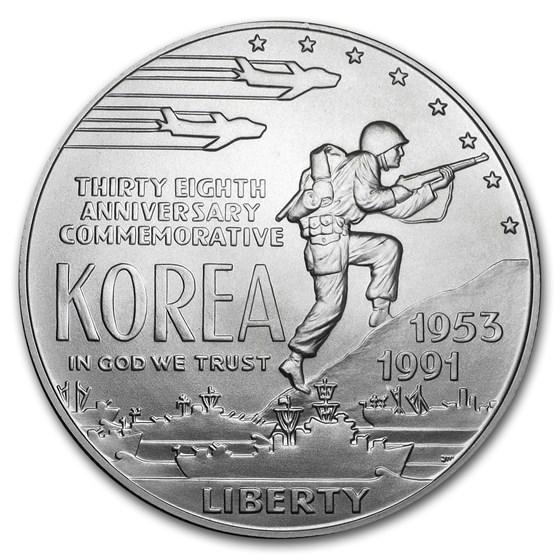 1991-D Korean War $1 Silver Commem BU (Capsule Only)