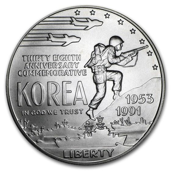 1991-D Korean War $1 Silver Commem BU (w/Box & COA)