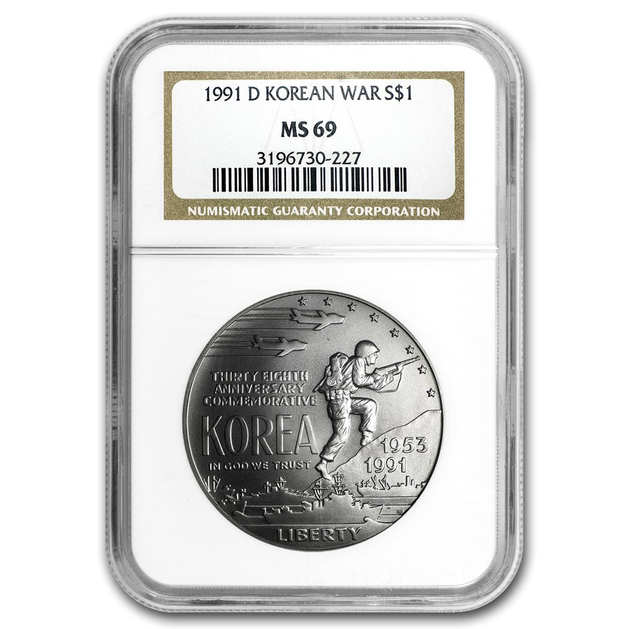 1991-D Korean War $1 Silver Commem MS-69 NGC