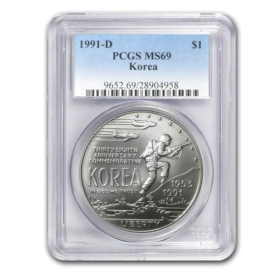 1991-D Korean War $1 Silver Commem MS-69 PCGS