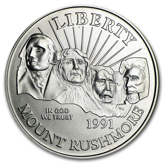 1991-D Mount Rushmore 1/2 Dollar Clad Commem BU (Capsule only)