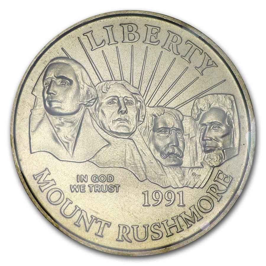 1991-D Mount Rushmore 1/2 Dollar Clad Commem BU (w/Box & COA)