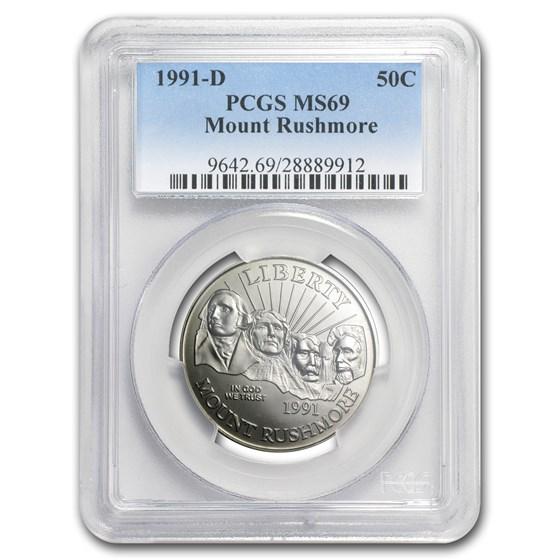 1991-D Mount Rushmore 1/2 Dollar Clad Commem MS-69 PCGS