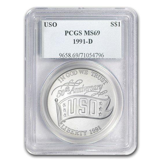 1991-D USO $1 Silver Commem MS-69 PCGS