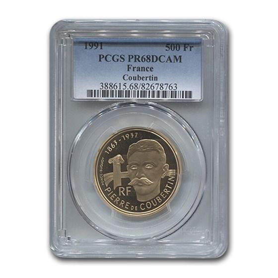 1991 France Gold 500 Francs Pierre De Coubertin PR-68 PCGS
