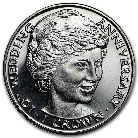 1991 Gibraltar Cupro-Nickel 1 Crown Diana 10th Wedding Anniv
