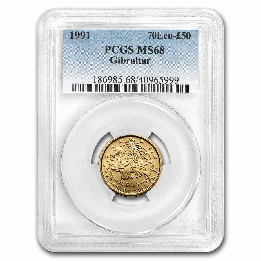 1991 Gibraltar Gold 70 Ecu/50 Pounds MS-68 PCGS