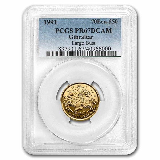 1991 Gibraltar Gold 70 Ecu/50 Pounds PR-67 DCAM PCGS