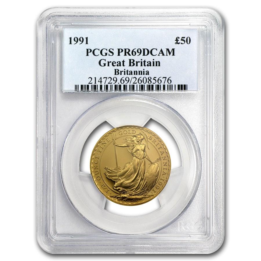 1991 Great Britain 1/2 oz Proof Gold Britannia PR-69 PCGS