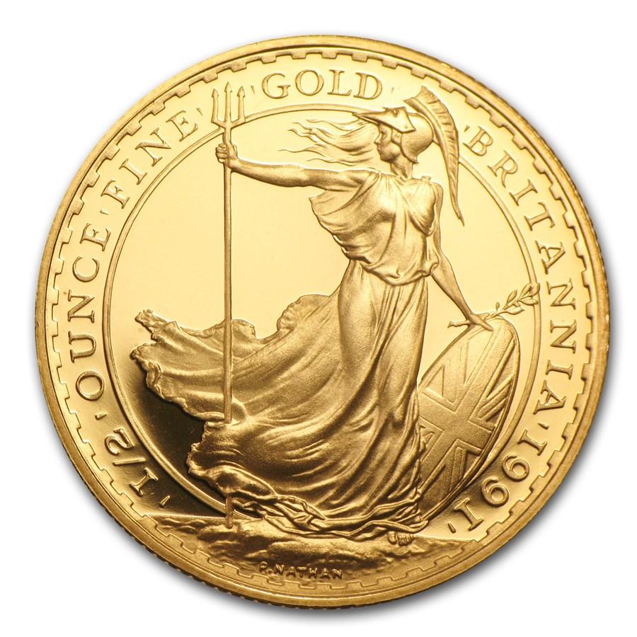 1991 Great Britain 1/2 oz Proof Gold Britannia