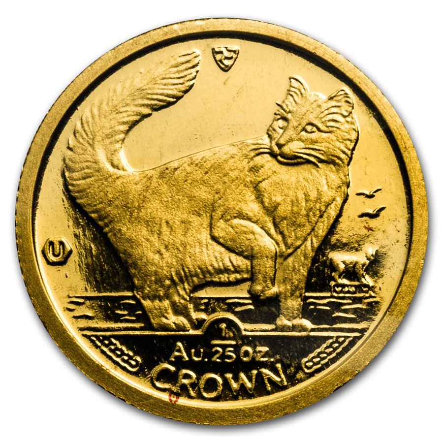 1991 Isle of Man 1/25 oz Gold Norwegian Cat