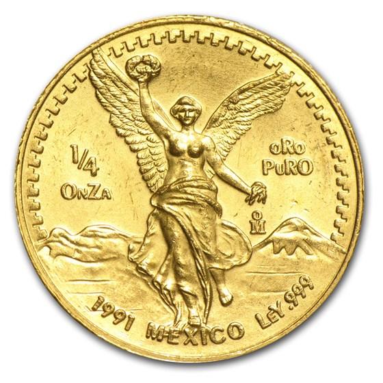 1991 Mexico 1/4 oz Gold Libertad BU