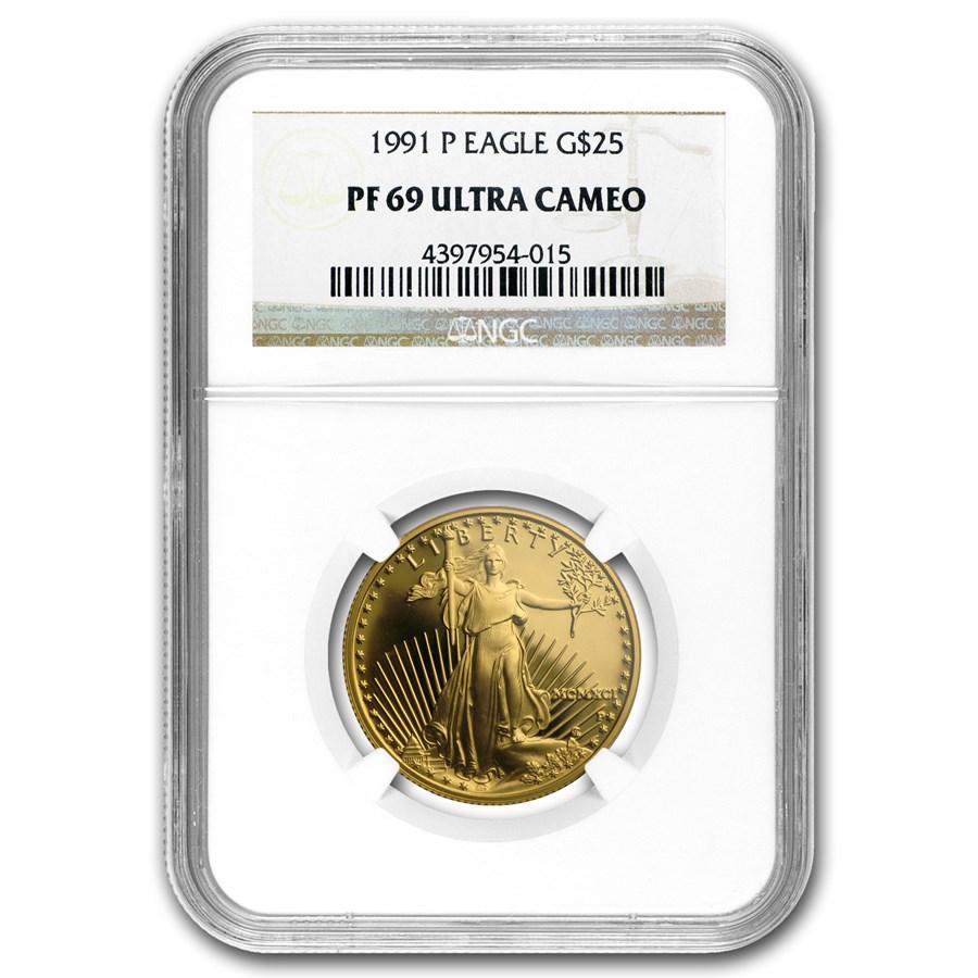 1991-P 1/2 oz Proof American Gold Eagle PF-69 NGC