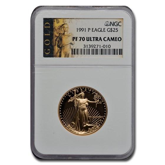 1991-P 1/2 oz Proof Gold American Eagle PF-70 NGC
