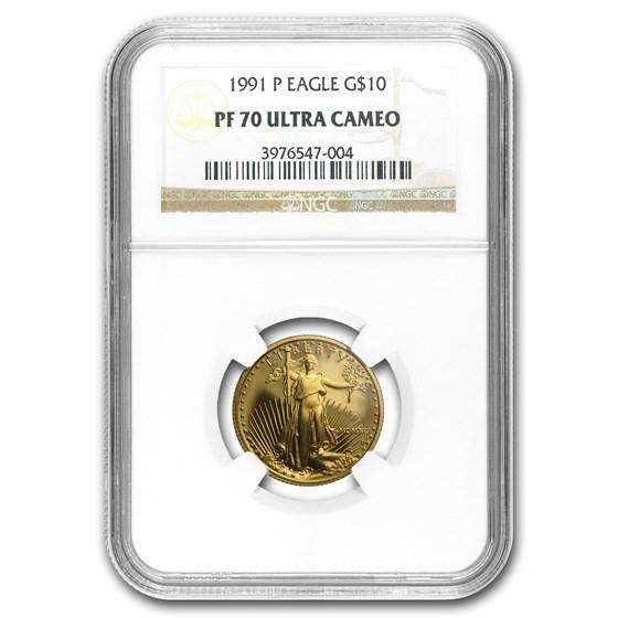 1991-P 1/4 oz Proof American Gold Eagle PF-70 NGC