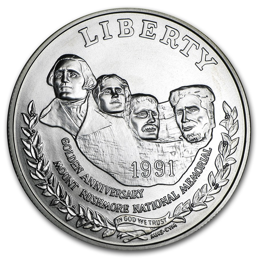 1991-P Mount Rushmore $1 Silver Commem BU (Capsule only)