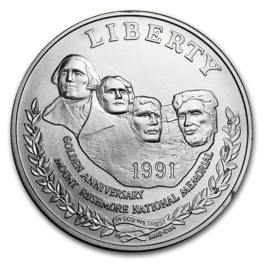 1991-P Mount Rushmore $1 Silver Commem BU (w/Box & COA)