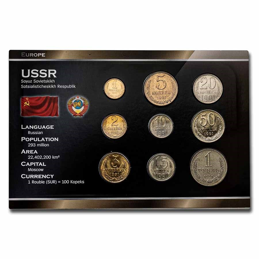 1991 Russia Final Coin Set of the USSR 9-Coin Set BU
