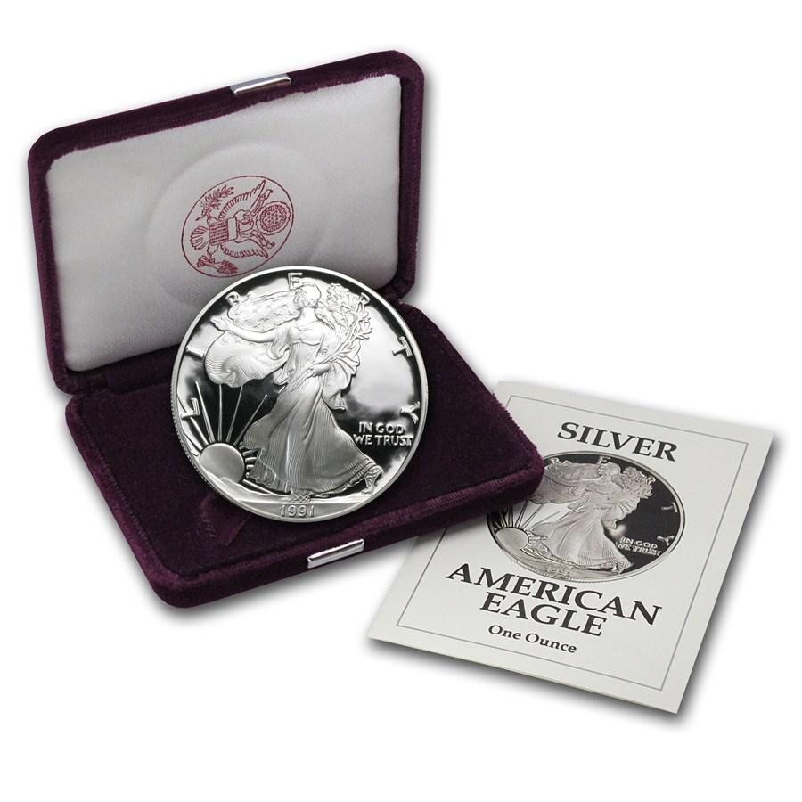 1991-S 1 oz Proof American Silver Eagle (w/Box & COA)