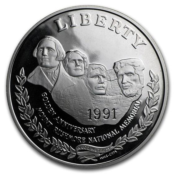 1991-S Mount Rushmore $1 Silver Commem Proof (w/Box & COA)