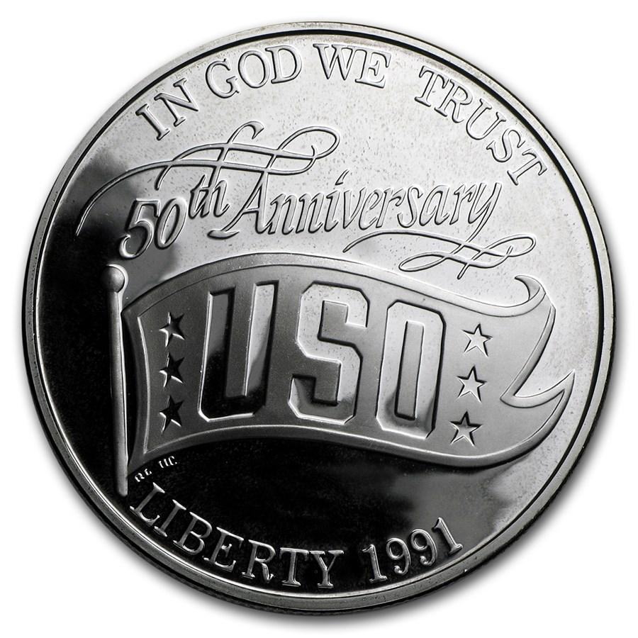 1991-S USO $1 Silver Commem Proof (w/Box & COA)