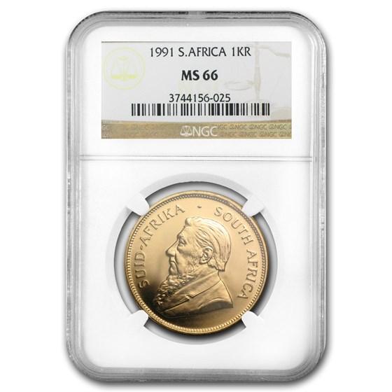 1991 South Africa 1 oz Gold Krugerrand MS-66 NGC