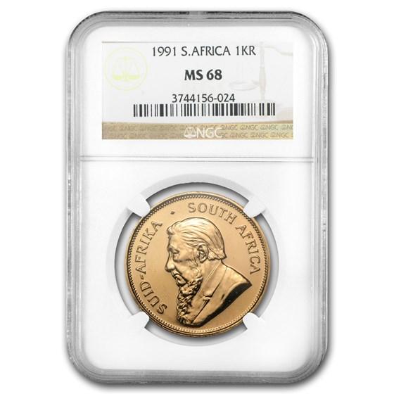 1991 South Africa 1 oz Gold Krugerrand MS-68 NGC