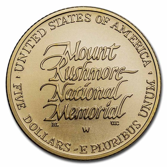 1991-W Gold $5 Commem Mount Rushmore BU (w/Box & COA)