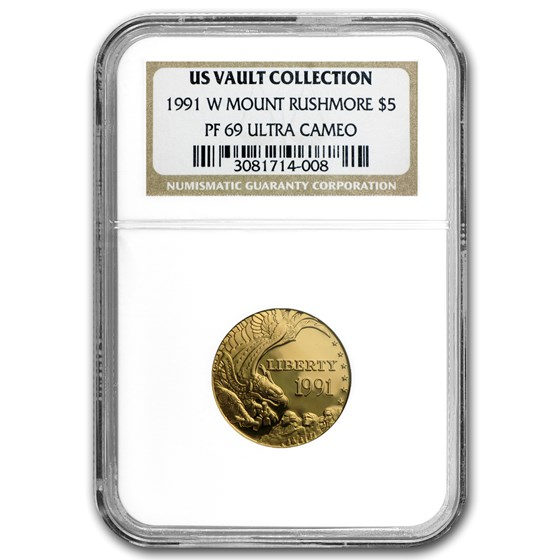 1991-W Gold $5 Commem Mount Rushmore PF-69 NGC