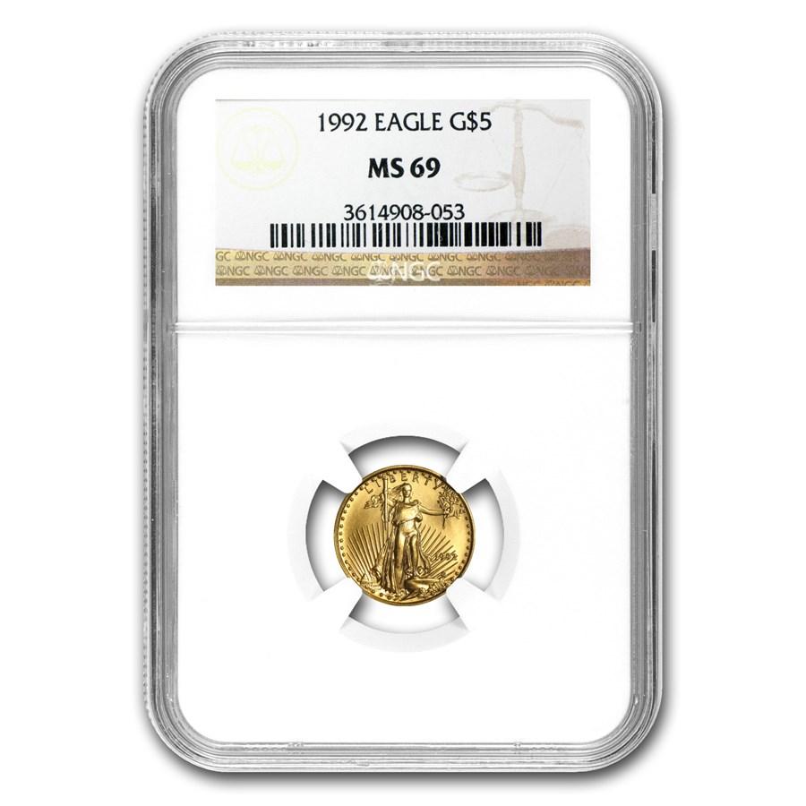 1992 1/10 oz American Gold Eagle MS-69 NGC