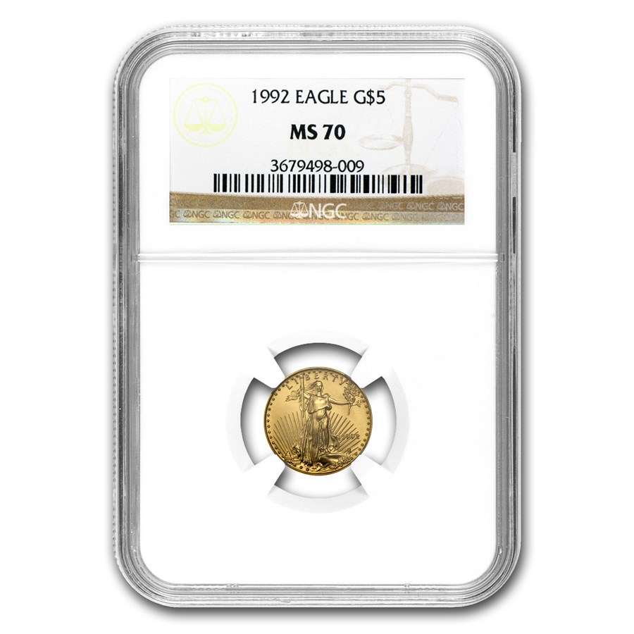 1992 1/10 oz American Gold Eagle MS-70 NGC