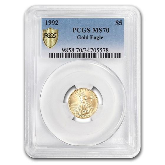 1992 1/10 oz Gold American Eagle MS-70 PCGS