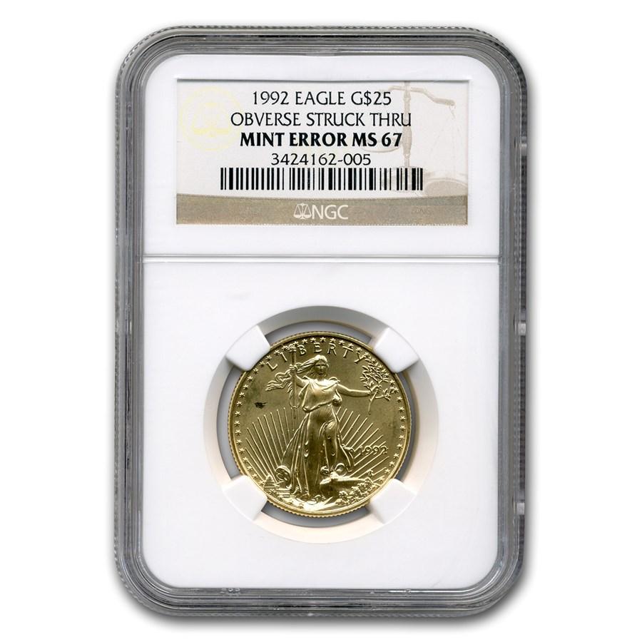 1992 1/2 oz American Gold Eagle MS-67 NGC (Obv Mint Error)