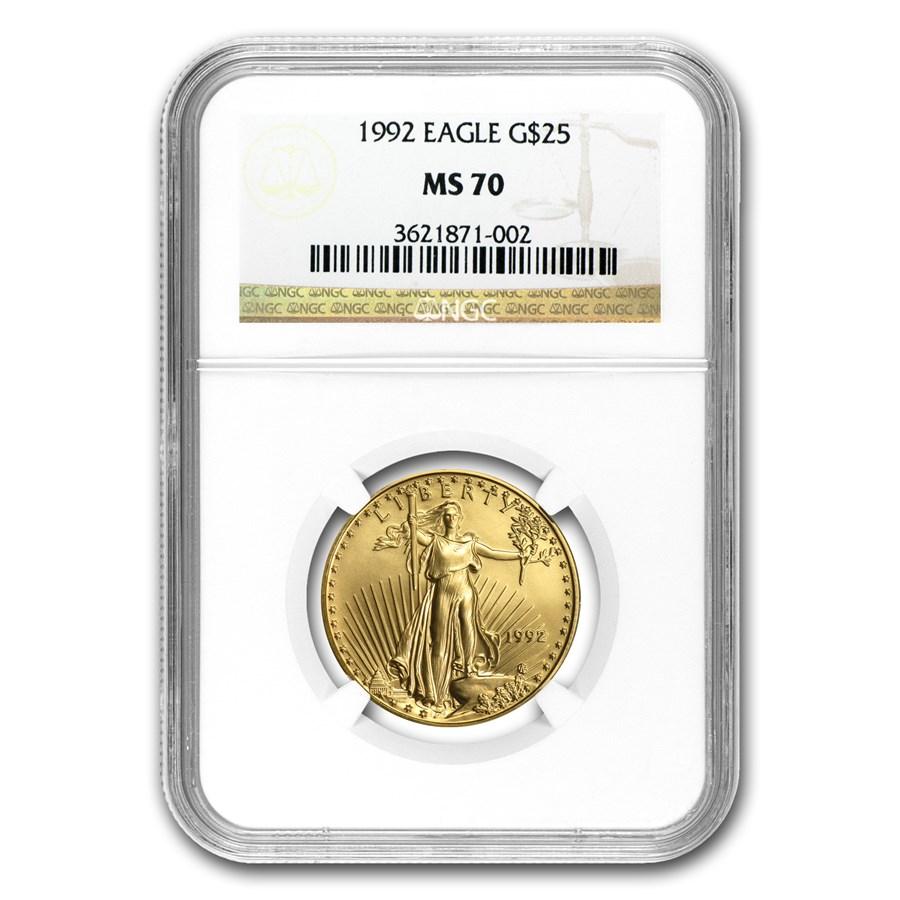 1992 1/2 oz American Gold Eagle MS-70 NGC