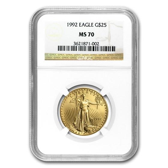 1992 1/2 oz Gold American Eagle MS-70 NGC