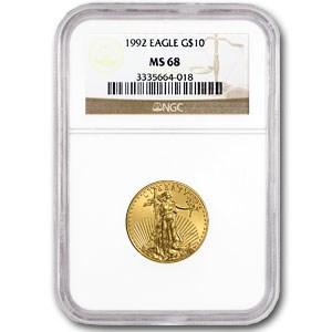 1992 1/4 oz American Gold Eagle MS-68 NGC
