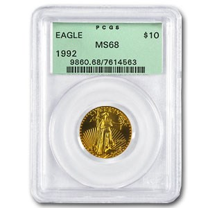 1992 1/4 oz American Gold Eagle MS-68 PCGS