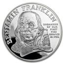 1992 1 oz Silver Ben Franklin Firefighters Medal Commem Proof