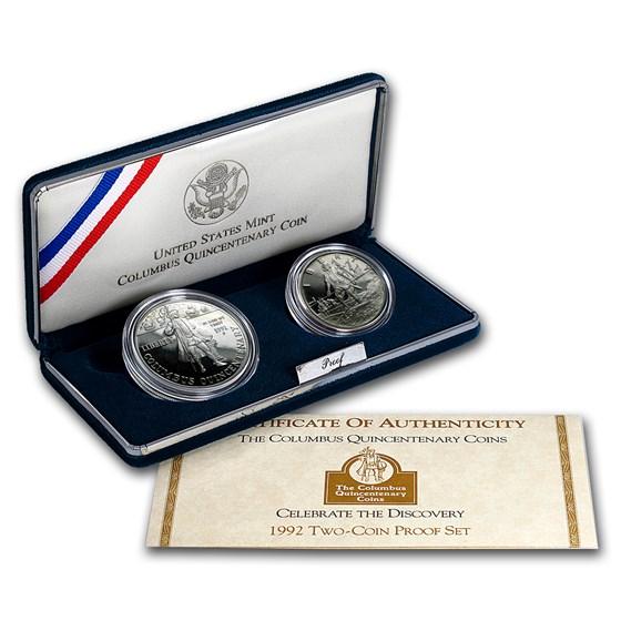 1992 2-Coin Columbus Quincentenary Proof Set (w/Box & COA)