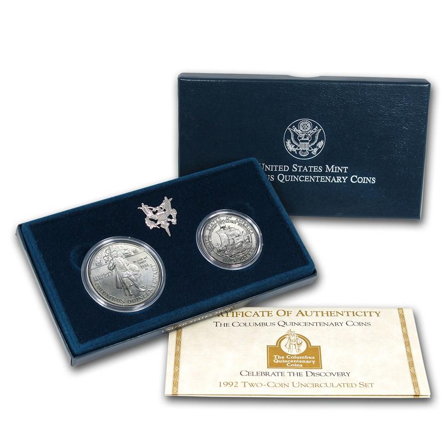 1992 2-Coin Columbus Quincentenary Set BU (w/Box & COA)